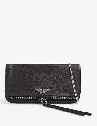 Zadig & Voltaire Rock studded leather clutch