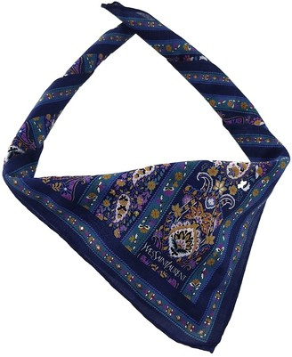 Saint Laurent Blue Cotton Scarves & pocket squares