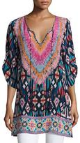 Tolani Felisity Split-Neck Printed Tunic