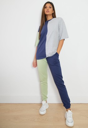 Missguided Navy Colourblock T Shirt And Joggers Co Ord Set