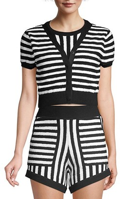 Victor Glemaud Striped Terry Faux-Cardi Knit