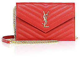 Saint Laurent Women's Small Monogram Matelassé Leather Wallet-On-Chain