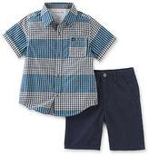 Calvin Klein Two-Piece Plaid Shirt and Shorts Set