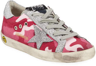 Golden Goose Girls' Superstar Glittered Camo Low-Top Sneakers, Baby/Toddler
