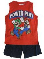 Super Mario Little Boys Cartoon Print Sleeveless Top 2 Pc Shorts Set 6-7
