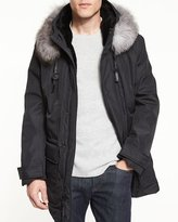 Andrew Marc Everest Fur-Trim Hooded Parka, Jet Black