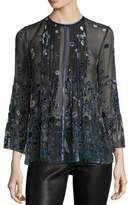 Elie Tahari Orion Sheer Bell-Sleeve Floral Blouse