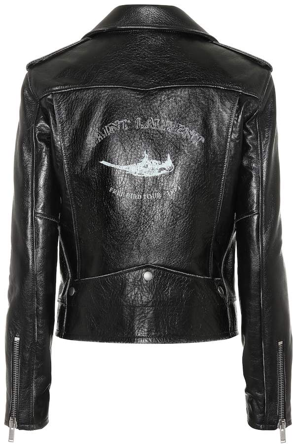 Saint Laurent Bird printed leather jacket