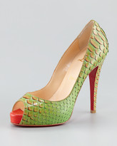 Christian Louboutin Very Prive Python Red Sole Pump, Menthe Green