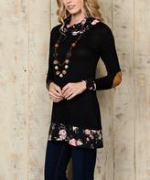 Celeste Black Floral Cowl Neck Tunic