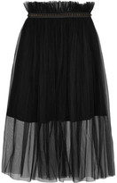 Mother of Pearl Delphia Embellished Tulle Midi Skirt - Black