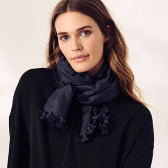 The White Company Cotton-Silk Tassel Scarf, Navy, One Size
