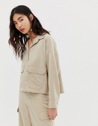 Monki cropped utility shirt in beige