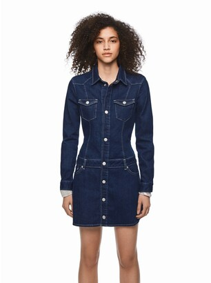 Pepe Jeans Dua Lipa Short Denim Dress with Long Sleeves and Pockets