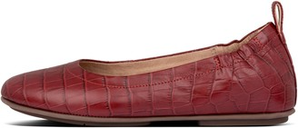 FitFlop Allegro Croc-Embossed Leather Ballet Flats