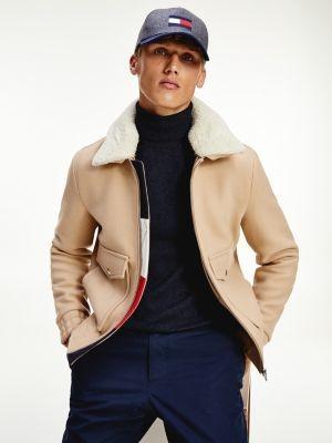 Tommy Hilfiger Shearling Collar Virgin Wool Flight Jacket