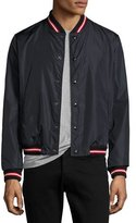 Moncler Dubost Bomber Jacket with Varsity Stripes, Dark Blue