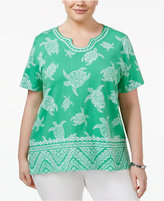 Alfred Dunner Plus Size Bahama Bay Collection Embellished Printed Top