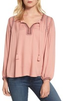 Lucky Brand Women's Embroidered Boho Blouse