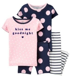 Carter's Toddler Girls 4 Piece Polka Dots Snug Fit Pajama Set