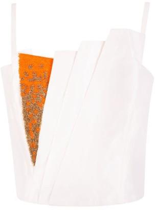 Aarabhi London Saffron Draped Beaded Top