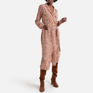 Pieces Animal Print Midi Dress with Tailored Collar