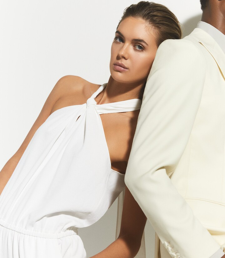 Thumbnail for your product : Reiss Tessa - Halterneck Jumpsuit in White