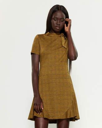 Nanette Lepore Nanette Short Sleeve Plaid Tie-Neck A-Line Dress