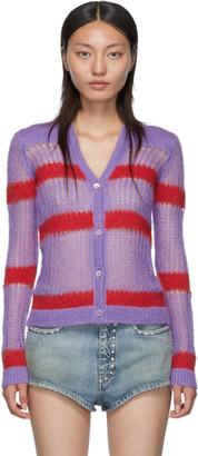 Miu Miu Purple and Red Striped Cardigan