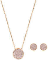 Swarovski Pavé Disc Pendant Necklace and Matching Stud Earrings Set