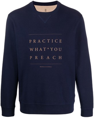 Brunello Cucinelli Slogan Print Sweatshirt