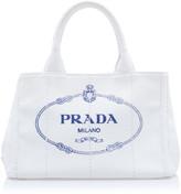 Prada Canapa Small Printed Linen Tote