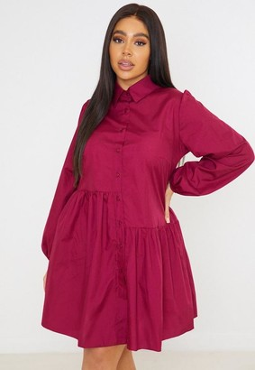 Missguided Plus Size Wine Button Through Asymmetric Dress
