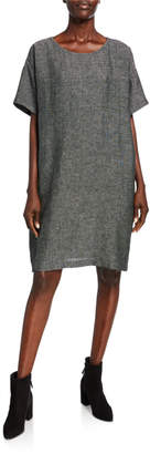 Eileen Fisher Petite Organic Linen Elbow-Sleeve Tweed Dress