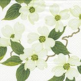 Caspari Blossom Paper Dinner Napkins, Pack of 20, White