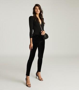 Reiss Lux Velvet - Velvet Mid Rise Skinny Trousers in Black