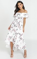 Showpo Ada Frill Maxi Dress in white floral - 6 (XS) Dresses