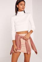 Missguided White Basic Turtleneck Long Sleeve Cropped Sweater