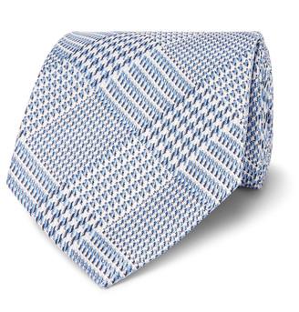 New TOM FORD 8CM SILK JACQUARD TIE grey woven Italy geometric pattern