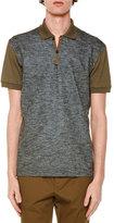 Lanvin Melange-Front Short-Sleeve Polo Shirt, Taupe