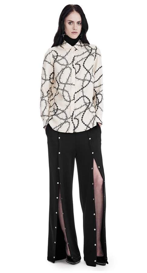 Alexander Wang BUTTON-UP SHIRT WITH BARBED WIRE PRINT