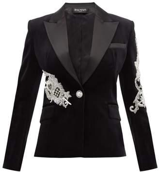 Balmain Bead Embellished Satin Lapel Velvet Jacket - Womens - Black Multi