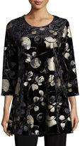 Caroline Rose 3/4-Sleeve Panne Velvet Tunic W/ Shimmer, Black