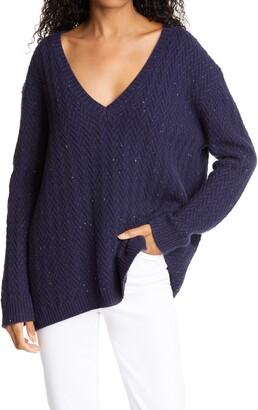 Nordstrom Signature Chevron Knit Cashmere Sweater