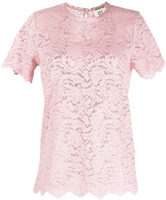 Semi-Couture scalloped floral-lace T-shirt