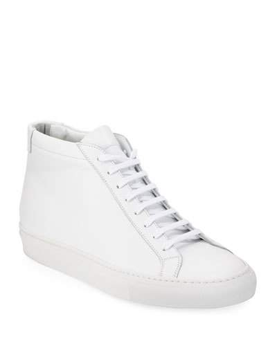 Common Projects Men's Original Achilles Men's Leather Mid-Top Sneakers, White