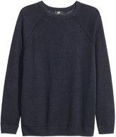 H&M Linen Knit Sweater - Dark blue - Men