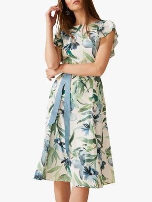 Phase Eight Carlotta Ruffle Sleeve Tie Belt Floral Dress, Pearl/Multi