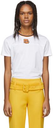 Prada White and Orange Ribbed Collar T-Shirt