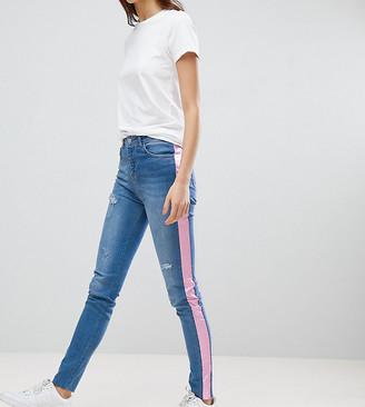 Chorus Tall Pink Foil Side Stripe Skinny Jeans-Blue